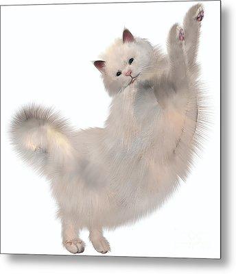 Oriental White Cat Metal Print by Corey Ford