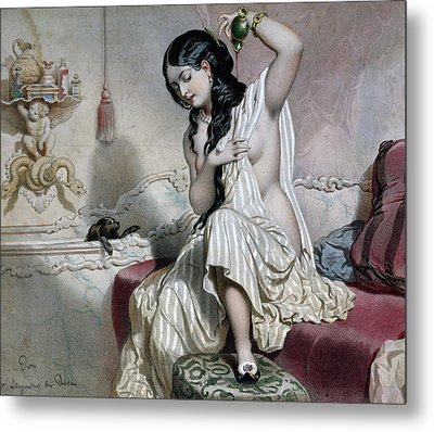 Oriental Woman At Her Toilet Metal Print by French School