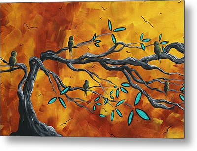 Original Bird Landscape Art Contemporary Painting After The Storm II By Madart Metal Print by Megan Duncanson