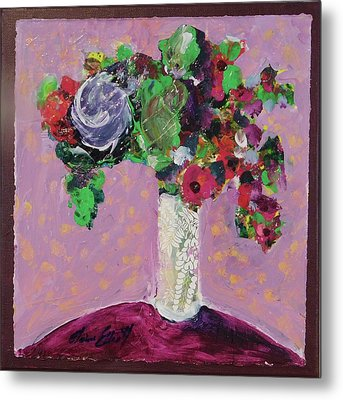 Original Bouquetaday Floral Painting 12x12 On Canvas, By Elaine Elliott, 59.00 Incl. Shipping Metal Print by Elaine Elliott
