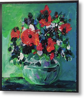 Original Bouquetaday Floral Painting By Elaine Elliott, Blues And Greens, 12x12, 59.00 Incl. Shippin Metal Print by Elaine Elliott