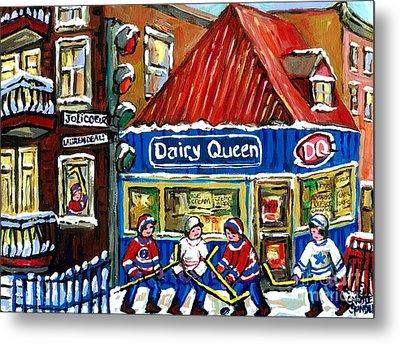 Original Canadian Hockey Art Paintings For Sale Snowfall At Dairy Queen Ville Emard Montreal Winter  Metal Print by Carole Spandau