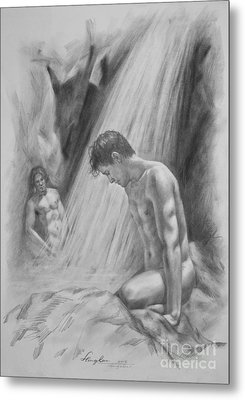 Original Charcoal Drawing Art Male Nude By Twaterfall On Paper #16-3-11-16 Metal Print by Hongtao Huang