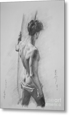 Original Charcoal Drawing Art Male Nude  On Paper #16-3-11-12 Metal Print