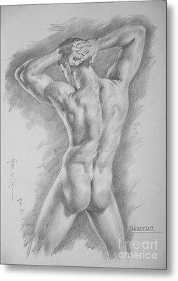 Original Charcoal Drawing Art Male Nude  On Paper #16-3-11-25 Metal Print by Hongtao Huang
