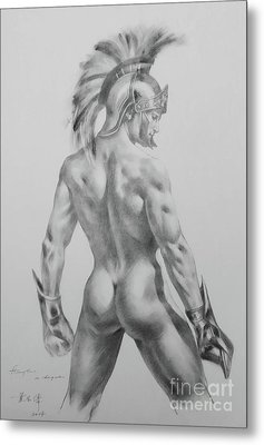 Original Drawing Sketch Charcoal Chalk Male Nude Gay Interst Man Art Pencil On Paper -0040 Metal Print