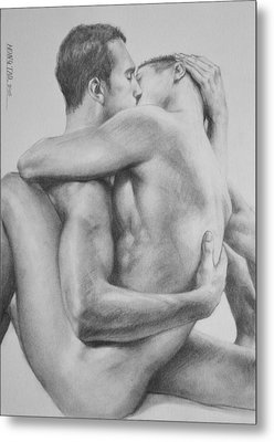 Original Drawing Sketch Charcoal   Male Nude Gay Interest Man Art Pencil On Paper -0034 Metal Print by Hongtao     Huang