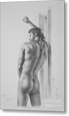 Original Drawing Sketch Charcoal Male Nude Gay Interest Man Art Pencil On Paper -0039 Metal Print