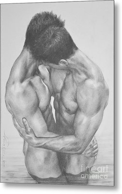 Original Drawing Sketch Charcoal  Male Nude Gay Interest Man Art Pencil On Paper -0041 Metal Print by Hongtao     Huang