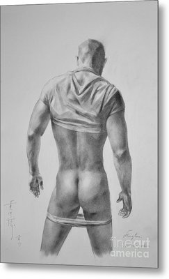 Original Drawing Sketch Charcoal Male Nude Gay Interest Man Art Pencil On Paper #11-17-19 Metal Print