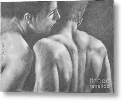 Original Drawing Sketch Charcoal Man Body  Male Nude Gay Interest Man Art Pencil On Paper -0029 Metal Print by Hongtao     Huang