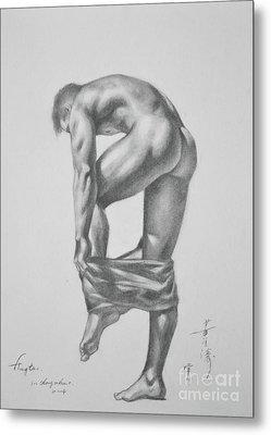 Original Drawing Sketch Charcoal Pencil Gay Interest Man Art  On Paper #11-17-14 Metal Print by Hongtao     Huang