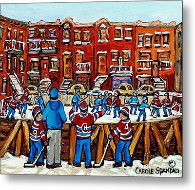 Original Hockey Art Paintings For Sale The Neighborhood Hockey Rink Canadian Winter Scenes Metal Print by Carole Spandau