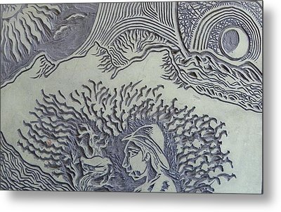 Original Linoleum Block Print Metal Print by Thor Senior