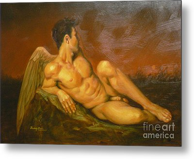 Original Oil Painting Art  Male Nude Of Angel Man On Canvas #11-16-01 Metal Print by Hongtao Huang