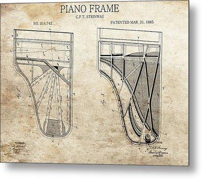Original Steinway Piano Frame Patent Metal Print