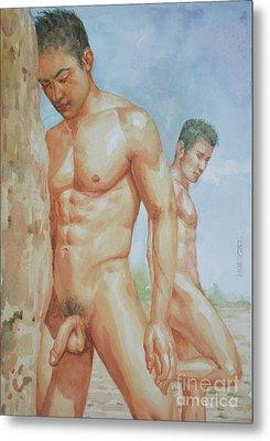 Original Watercolour Painting Art Young Men Male Nude Boys  On Paper #16-1-26-15 Metal Print