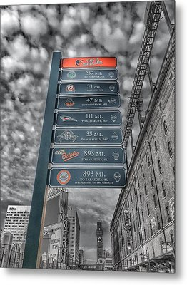 Oriole Park At Camden Yards Signs - Black And White Metal Print