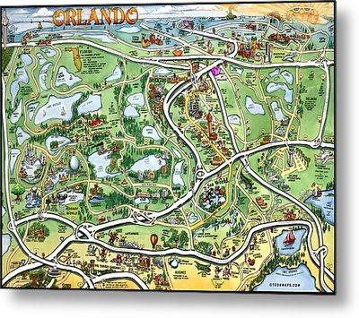 Orlando Florida Cartoon Map Metal Print