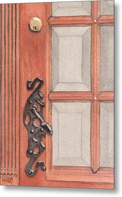 Ornate Door Handle Metal Print by Ken Powers