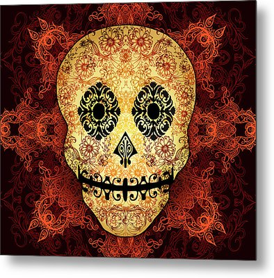 Ornate Floral Sugar Skull Metal Print