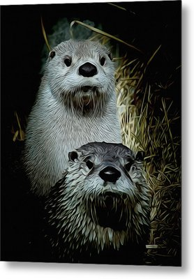 Otter Family Portrait Metal Print