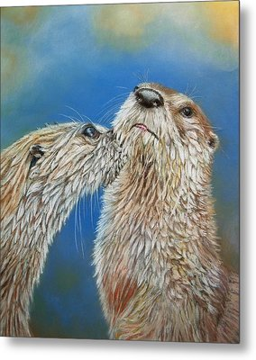 Otter Love Metal Print