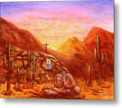 Metal Print featuring the painting Our Lady Of The Desert by Judy Filarecki