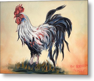 Our Rooster Family Metal Print