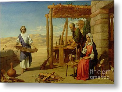 Our Saviour Subject To His Parents At Nazareth Metal Print by John Rogers Herbert