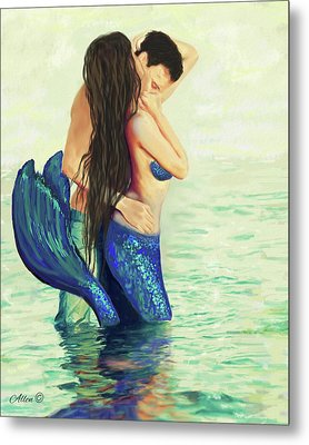 Metal Print featuring the painting Our Treasured Love by Leslie Allen