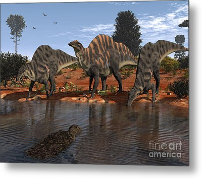 Ouranosaurus Drink At A Watering Hole Metal Print by Walter Myers