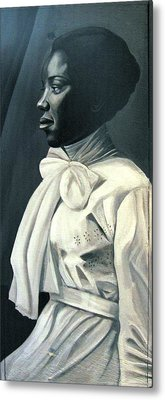 Out Of The Box Woman In Large White Bow  Metal Print by Joyce Owens