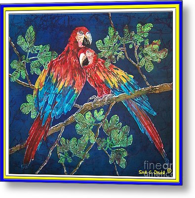 Out On A Limb- Macaws Parrots - Bordered Metal Print by Sue Duda