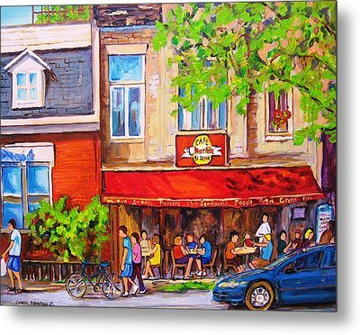 Metal Print featuring the painting Outdoor Cafe by Carole Spandau