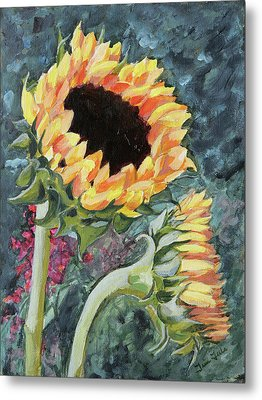 Outdoor Sunflowers Metal Print by Trina Teele