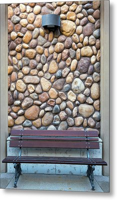 Outdoor Wood Bench By Rock Wall Metal Print