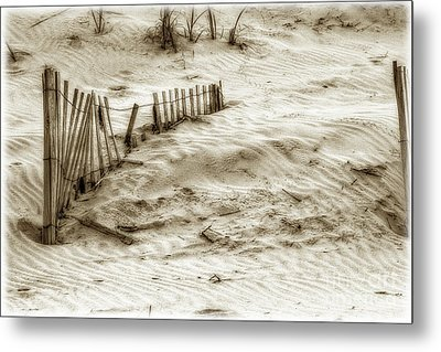 Outer Banks Beach Sand Fence  Metal Print by Randy Steele