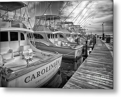 Outer Banks Fishing Boats Waiting Bw Metal Print