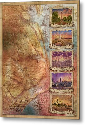 Outer Banks Lighthouse Map 3 Metal Print