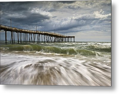 Outer Banks Nc Avon Pier Cape Hatteras - Fortitude Metal Print by Dave Allen