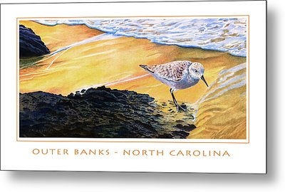 Metal Print featuring the mixed media Outer Banks Sanderling by Bob Nolin