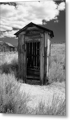 Outhouse In Ghost Town Metal Print by George Oze