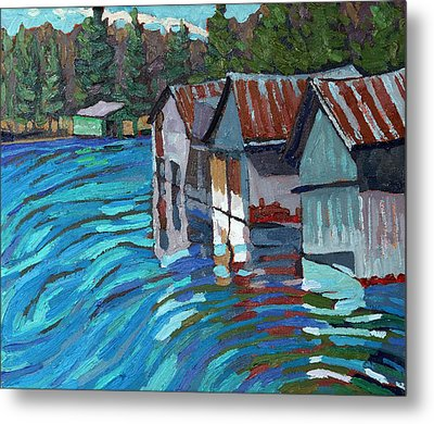 Outlet Row Of Boat Houses Metal Print by Phil Chadwick