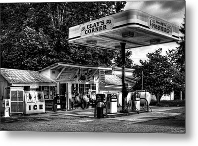 Outside At Clays Corner In Black And White Metal Print by Greg Mimbs