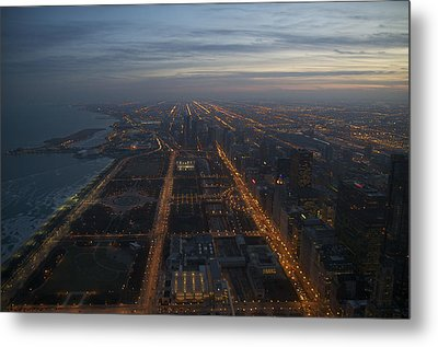 Over Chicago At Dusk Metal Print