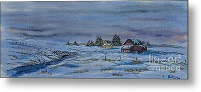 Over The Bridge And Through The Snow Metal Print by Charlotte Blanchard