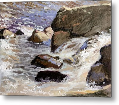 Over The Edge- Strong Falls Metal Print by Larry Seiler