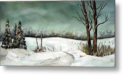 Metal Print featuring the painting Overcast Winter Day by Anna-Maria Dickinson