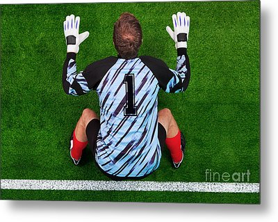 Overhead Shot Of A Goalkeeper On The Goal Line Metal Print